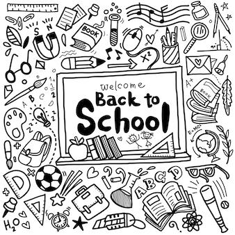 Bem-vindo de volta ao cartaz da escola com rabiscos