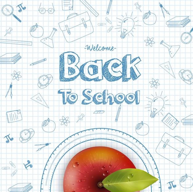 Bem-vindo de volta ao fundo da escola com maçã vermelha