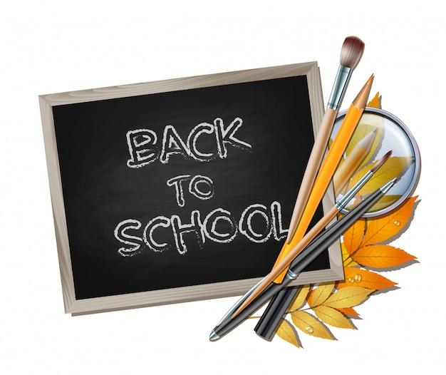 Bem-vindo de volta ao fundo da escola. itens e elementos escolares.