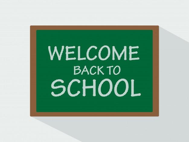 Bem-vindo de volta ao giz da escola no quadro-negro