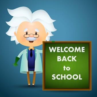 Bem-vindo de volta ao projeto da escola. caráter de professor antigo