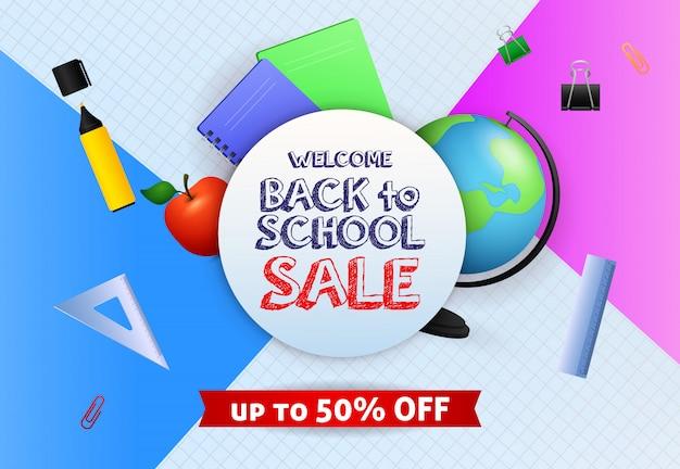 Bem-vindo de volta ao projeto de banner de venda de escola com globo, caneta marcador