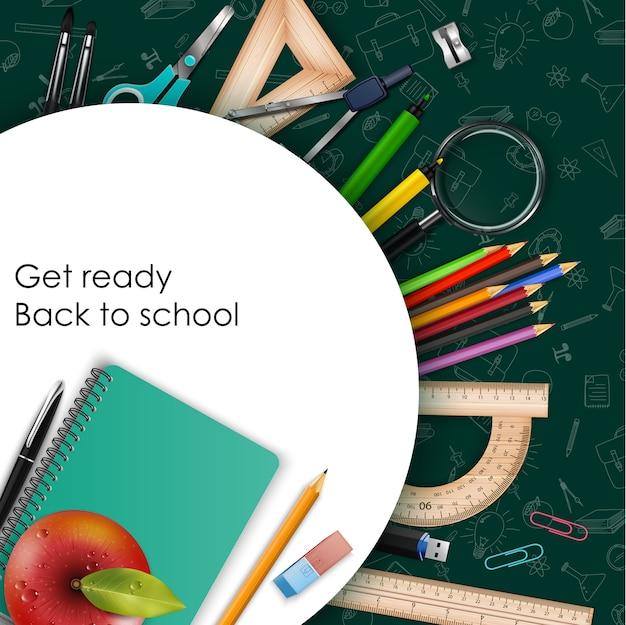 Bem-vindo de volta ao schoolposter com material escolar