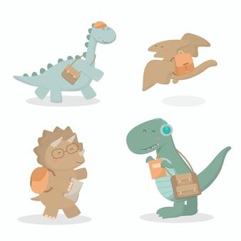 Bem-vindo de volta ao semestre, os dinossauros carregando uma mochila escolar estão indo para a escola.