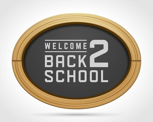 Bem-vindo de volta ao texto da escola de desenho de giz no quadro-negro