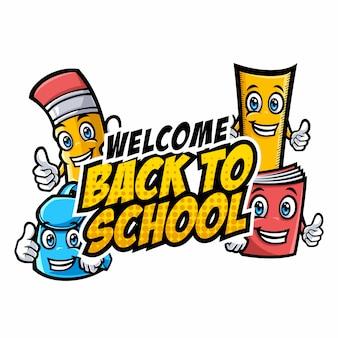 Bem-vindo de volta aos personagens da escola com mascotes de desenhos animados engraçados de educação
