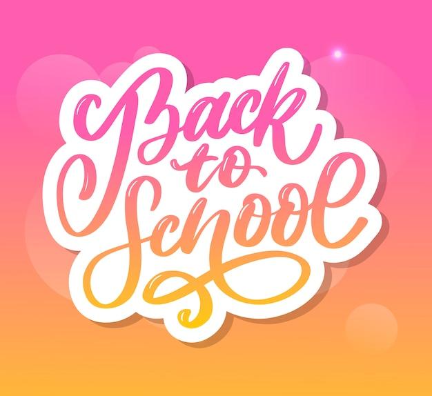 Bem-vindo de volta às letras da escova de mão da escola