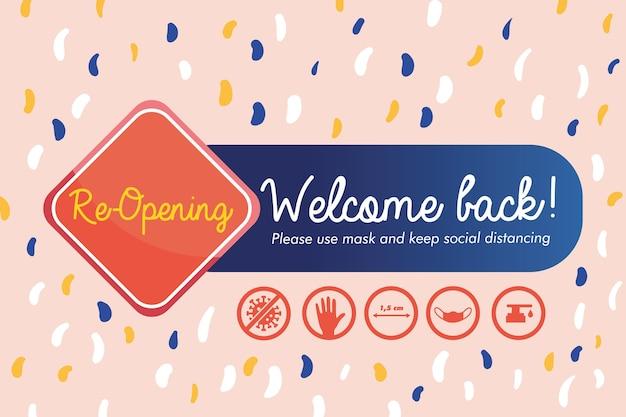 Bem-vindo de volta, ícones de sinais de abertura e protocolos de prevenção