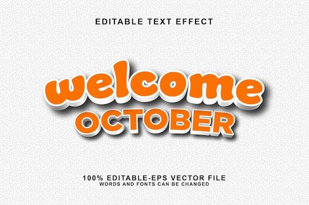 Bem-vindo desenho animado do estilo do efeito de texto editável de outubro.