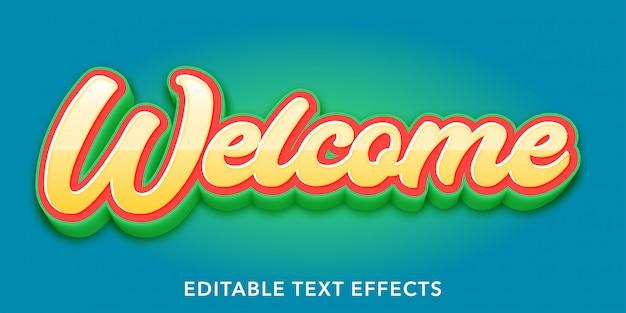 Bem-vindo efeitos de estilo de texto editável