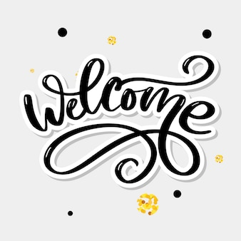 Bem-vindo, escova, lettering