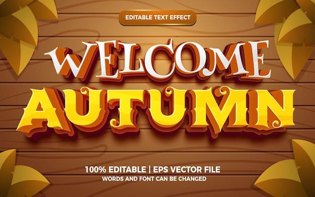 Bem-vindo, estilo de modelo de efeito de texto editável em quadrinhos de desenho animado em 3d