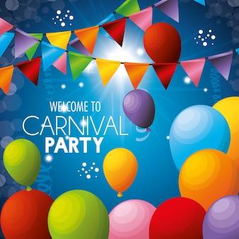 Bem-vindo festa de carnaval balões cores guirlandas