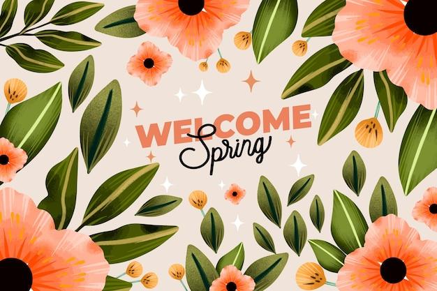 Bem-vindo fundo aquarela primavera
