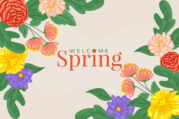 Bem-vindo fundo primavera com flores coloridas