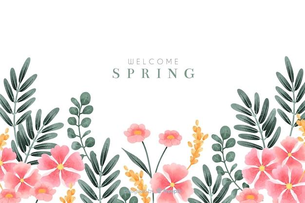 Bem-vindo fundo primavera com flores em aquarela