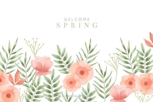 Bem-vindo fundo primavera com flores