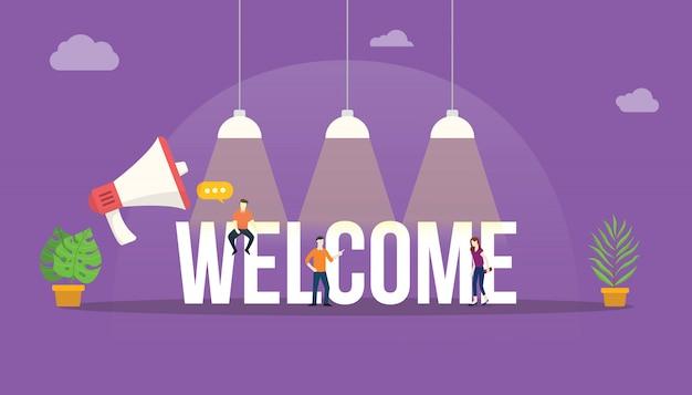Bem-vindo, grande, palavra, texto