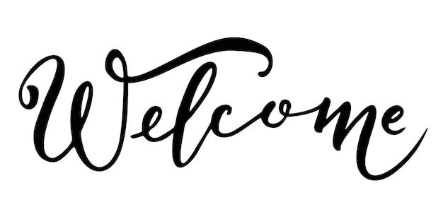 Bem-vindo - inscrição caligráfica com linhas suaves. bandeira desenhada à mão com letras de caligrafia