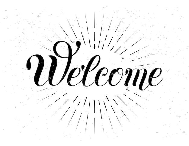 Bem-vindo, letras de mão, ilustração vetorial de caligrafia artesanal