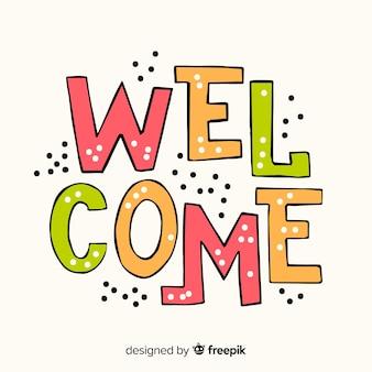 Bem-vindo, lettering, conceito