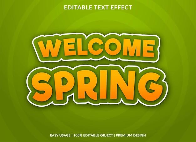 Bem-vindo, modelo de efeito de texto de primavera vetor premium