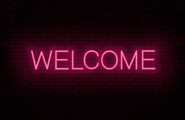 Bem-vindo - modelo de inscrição pronto para placa de néon. texto brilhante na parede.