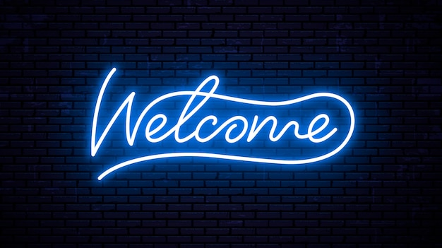 Bem-vindo - modelo de inscrição pronto para placa de néon.