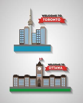 Bem-vindo, ottawa, e, toronto, canadense, cidades, arquitetura