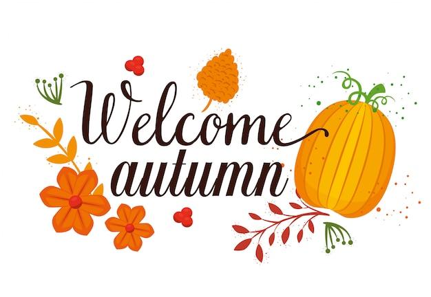 Bem-vindo outono cartão sazonal
