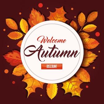 Bem-vindo outono com selo e folhas de banner