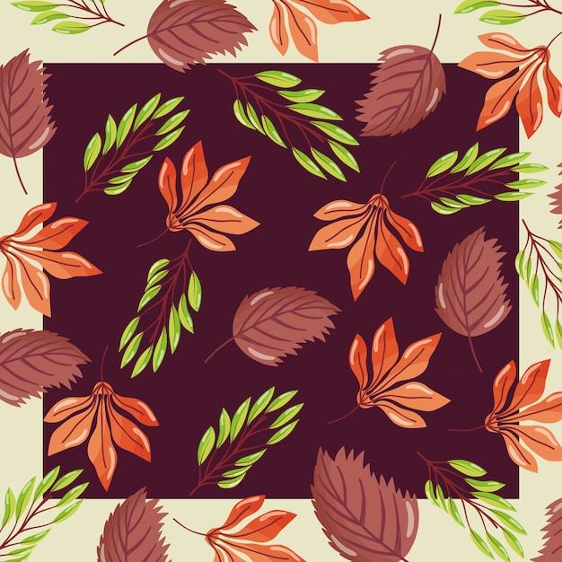 Bem-vindo outono folhas temporada sem costura padrão