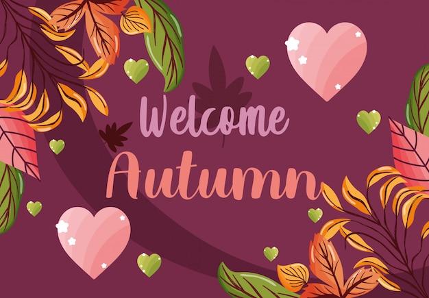 Bem-vindo outono folhas temporada