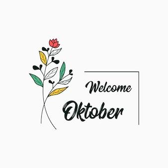 Bem-vindo outubro com design de modelo de ilustração de flores