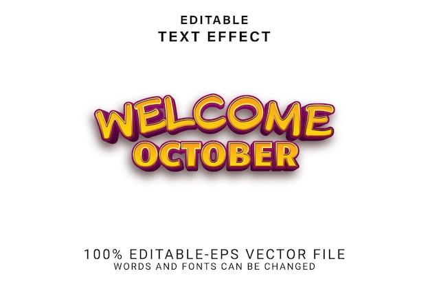 Bem-vindo outubro editável estilo efeito de desenho animado