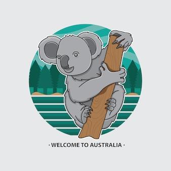 Bem-vindo, para, austrália, ícone, koala
