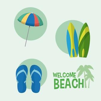 Bem-vindo, para, praia, desenhos animados