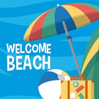 Bem-vindo, praia, cartão