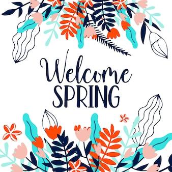 Bem-vindo primavera com folhas coloridas criativas