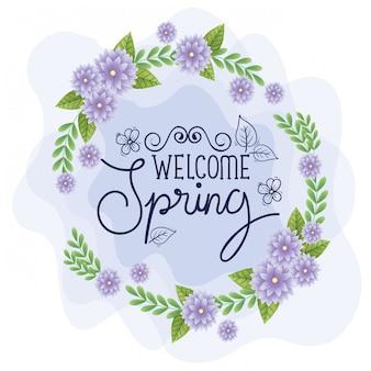Bem-vindo primavera com moldura de flores e folhas