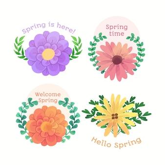 Bem-vindo primavera emblemas com coroa de folhas