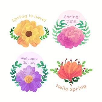 Bem-vindo primavera emblemas em design aquarela