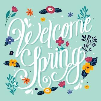 Bem-vindo primavera rotulação design com flores