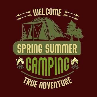 Bem-vindo primavera verão camping verdadeira aventura