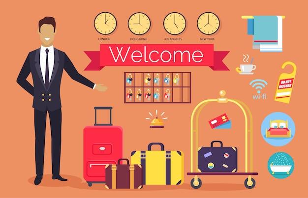 Bem-vindo serviço de hotel, clientes de saudação de administrador