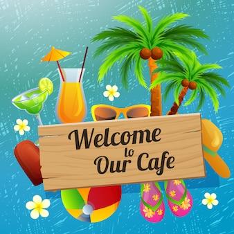 Bem-vindo sinal café férias na praia