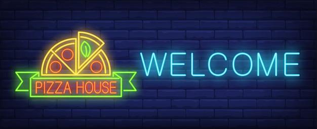 Bem-vindo, sinal de néon da casa de pizza