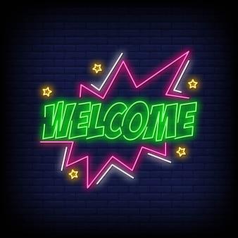 Bem-vindo, texto sinal de néon