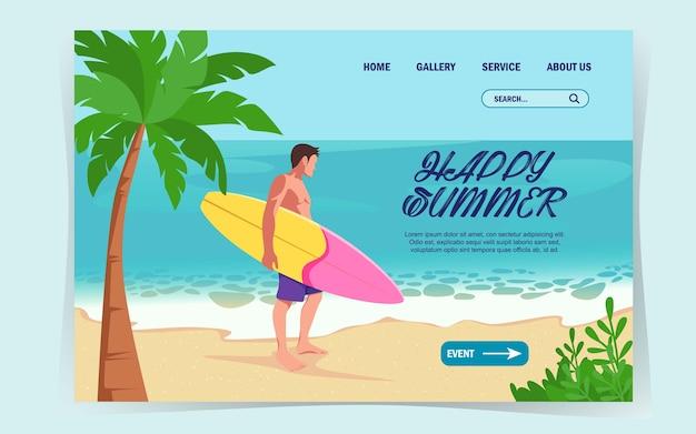 Bem-vindo verão, design de verão para site de pouso com um homem bonito e sua prancha de surf.