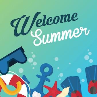 Bem-vindo, verão, feriado, cartão